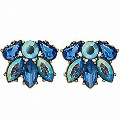 Red Herring - Metallic blue cluster stone stud earring