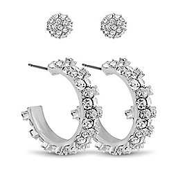 Red Herring - Set of two crystal embellished ball and hoop earrings