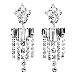 Red Herring - Baguette and diamante chain drop earring