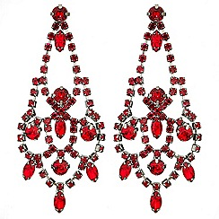 Red Herring - Red diamante crystal chandelier earring