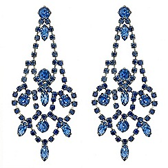 Red Herring - Blue diamante crystal chandelier earring