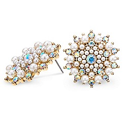 Red Herring - Aurora borealis crystal and pearl starburst earring