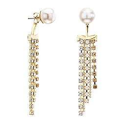 Red Herring - Pearl and gold diamante crystal front and back earring