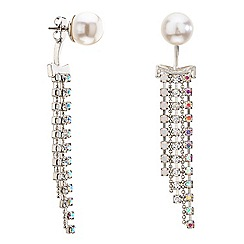 Red Herring - Pearl and diamante crystal front and back earring