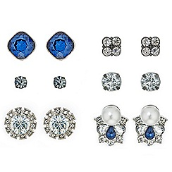 Red Herring - Mixed blue crystal stud earring set