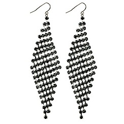 Red Herring - Jet diamante chevron drop earring