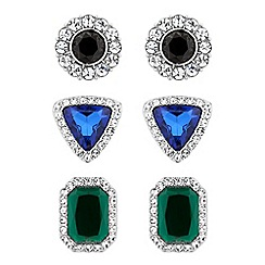 Red Herring - Set of three multicoloured crystal surround stud earrings