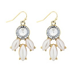 Red Herring - Pearl and crystal navette drop earring