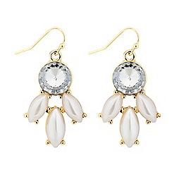 Red Herring - Pearl and crystal navette drop earring