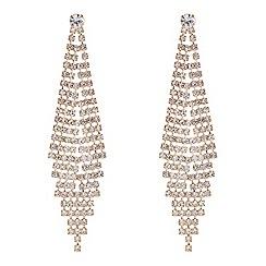 Red Herring - Gold diamante graduating chandelier earring