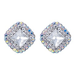 Red Herring - Aurora borealis crystal surround square stud earring