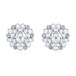 Red Herring - White flower and crystal cluster earrings