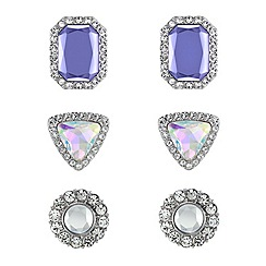 Red Herring - Set of three aurora borealis violet and crystal earrings