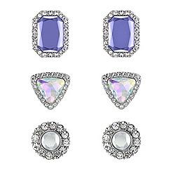 Red Herring - Set of three aurora borealis violet and crystal earrings