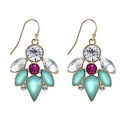 Red Herring - Green and pink crystal cluster drop earring