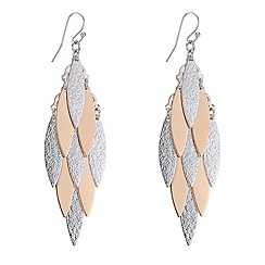Red Herring - Two tone textured leaf drop earring