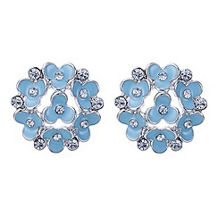 Red Herring - Blue flower and crystal cluster earring