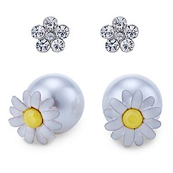 Red Herring - Interchangeable daisy and crystal pearl front and back earring