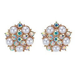 Red Herring - Pearl and aurora borealis crystal starburst stud earring