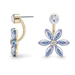 Red Herring - Blue flower crystal lobe earrings