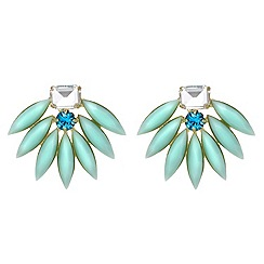 Red Herring - Statement green stone and crystal stud earring