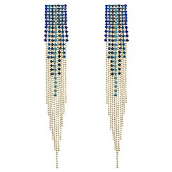 Red Herring - Tonal blue diamante tassel earrings