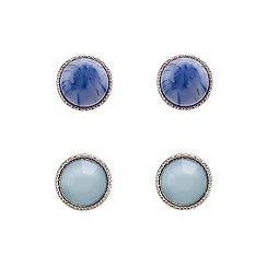 Red Herring - Set of two semi precious style stud earrings