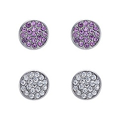 Red Herring - Set of two crystal embellished stud earrings