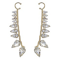 Red Herring - Gold chain crystal navette ear cuffs