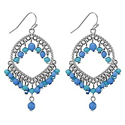 Red Herring - Lantern drop blue bead earring