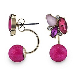 Red Herring - Pink stone cluster ball lobe earring