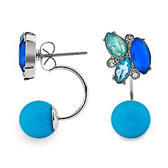 Red Herring - Blue cluster stone front and back earring
