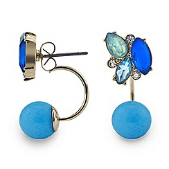 Red Herring - Blue crystal front back lobe earrings