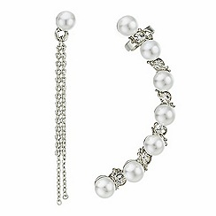 Red Herring - Pearl ear climber and chain drop stud earring set