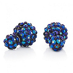 Red Herring - Metallic blue starburst front and back earring