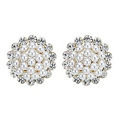 Red Herring - Cluster pearl and crystal stud earring
