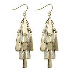 Red Herring - Gold glitter inlay fan drop earring