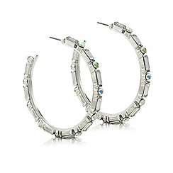 Red Herring - Silver aurora borealis hoop earrings