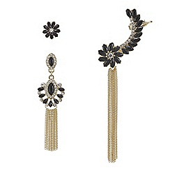 Red Herring - Gold and jet crystal ornate floral three piece earring set