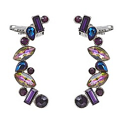 Red Herring - Purple cluster stone pack of two ear cuffs