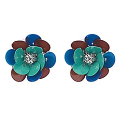 Red Herring - Sequin flower stud earring