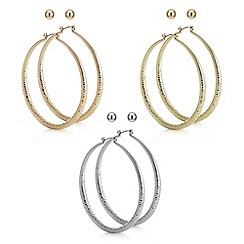 Red Herring - Textured hoop and stud earring pack