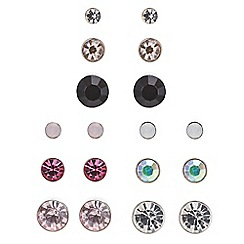 Red Herring - Silver mixed colour crystal stud earring pack