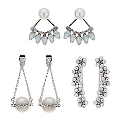 Red Herring - Silver pearl and crystal earring pack