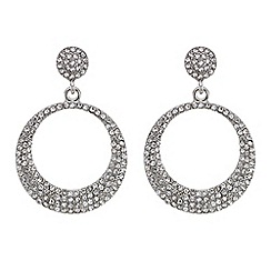 Red Herring - Silver pave forward facing hoop earrings