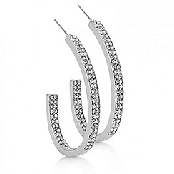 Red Herring - Silver crystal pave hoop earring