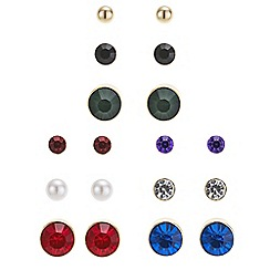 Red Herring - Gold mixed colour crystal stud earring pack