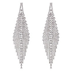 Red Herring - Silver diamante statement chandelier earrings