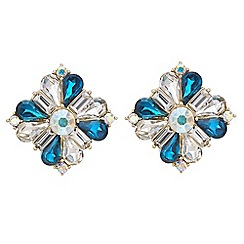 Red Herring - Teal aurora borealis crystal stud earring