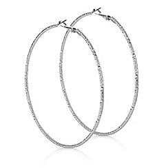 Red Herring - Silver textured over sized hoop earring